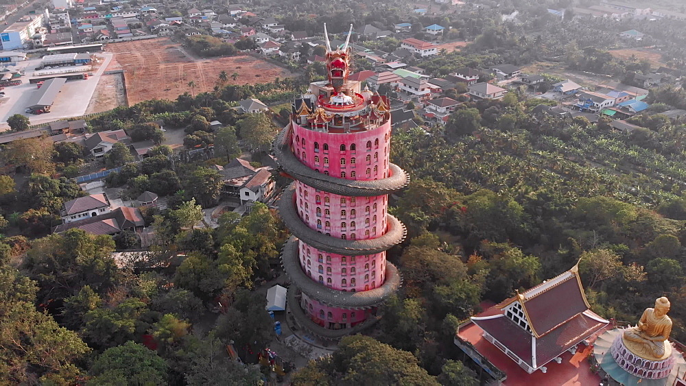 Drone Aerial view of Wat Samphran Dragon Temple in the Sam Phran District in Nakhon Pathom province near Bangkok, Thailand.