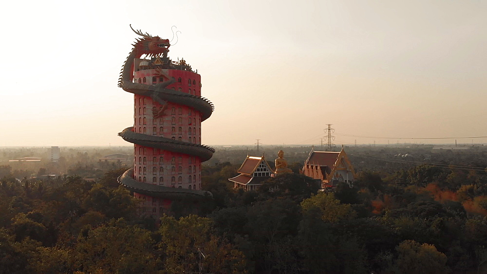 Drone aerial view of Wat Samphran Dragon Temple in the Sam Phran District in Nakhon Pathom province near Bangkok, Thailand, Southeast Asia, Asia
