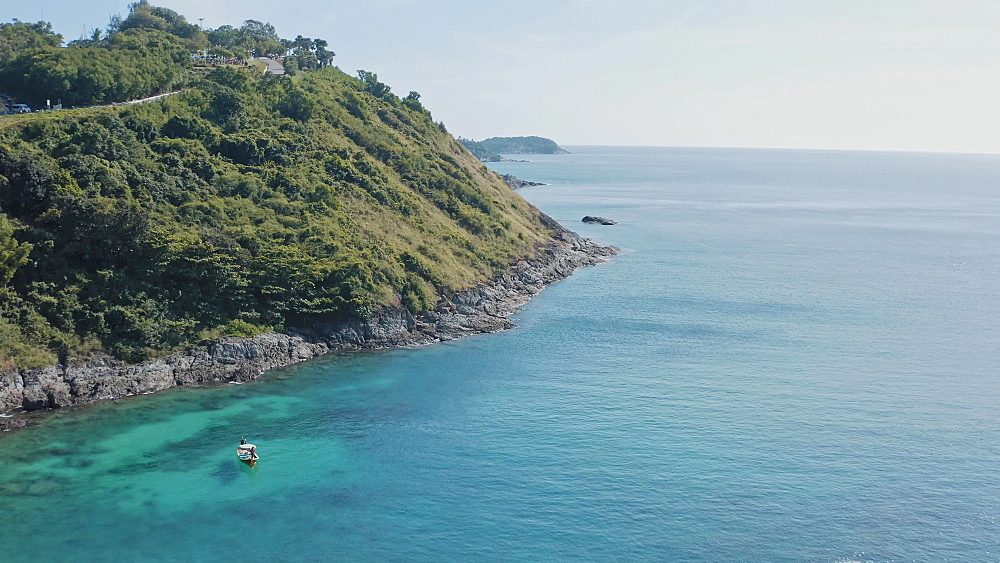 Drone Aerial view of Patong beach in Patong, Phuket, Thailand, Southeast Asia, Asia