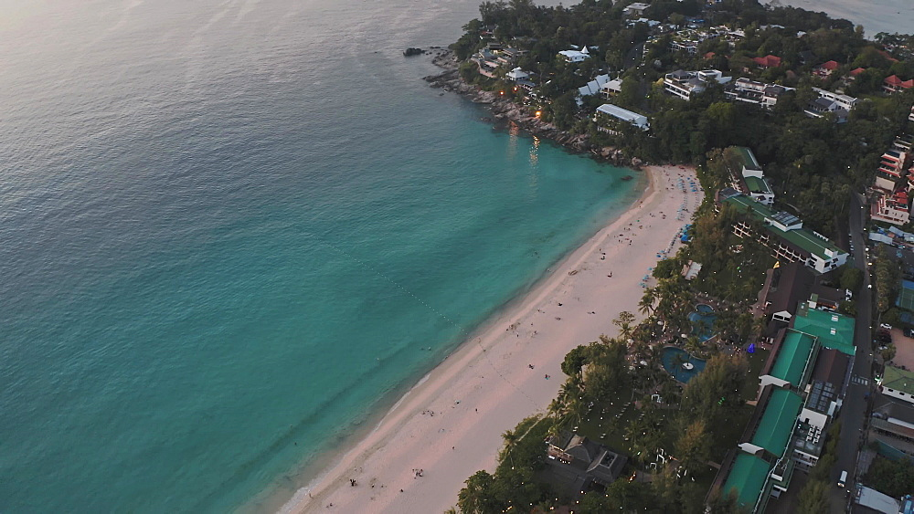 Drone aerial shot of sunset over Kata Beach view point, PhUKet, Thailand, Southeast Asia, Asia