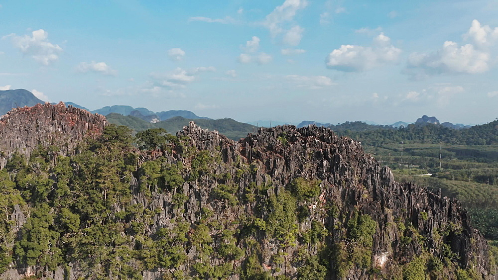 Drone aerial shot of an amazing landscape and rock formations in Krabi, Thailand, Southeast Asia, Asia