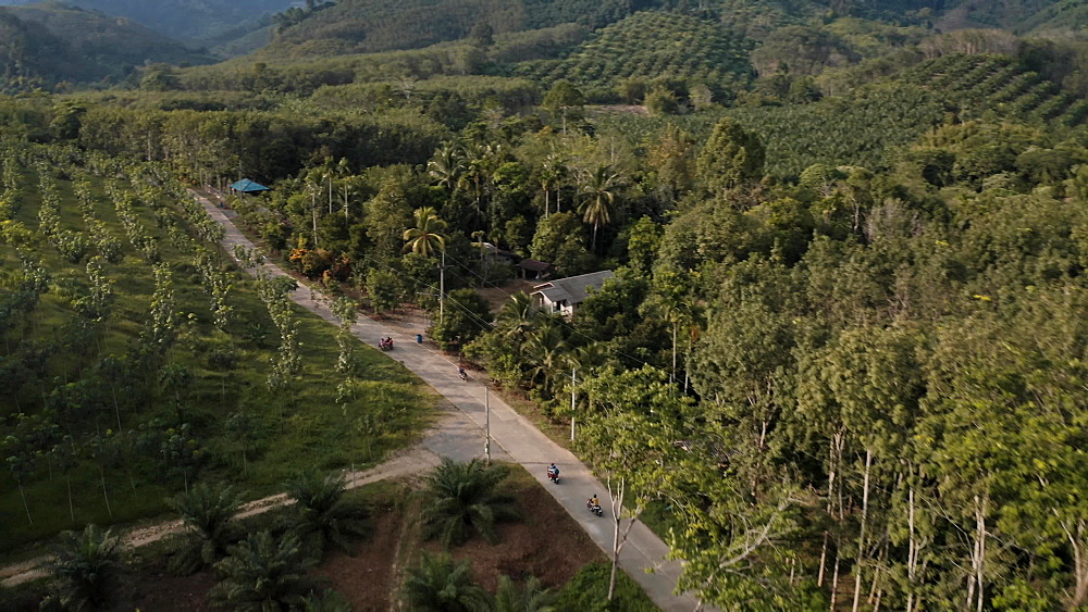 Drone Aerial shot of a tourists riding scooters on local thai roads, in Krabi, Thailand, South East Asia
