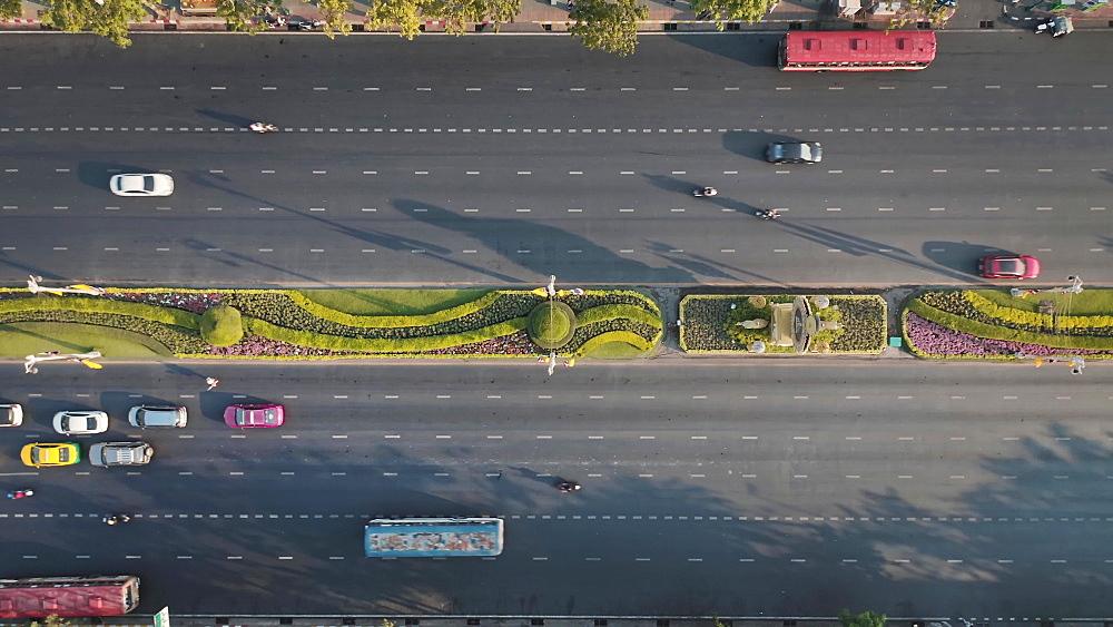Drone aerial shot of Bangkok, Thailand, Southeast Asia, Asia