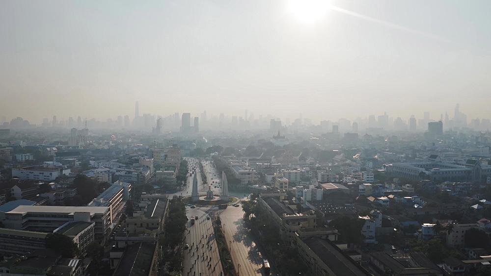 Drone aerial shot of a Bangkok, Thailand, Southeast Asia, Asia