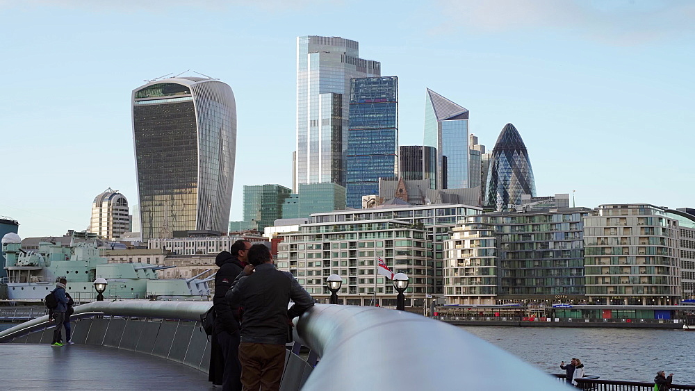 City of London business skyline from busy St. Katherines Dock, London, England, United Kingdom, Europe