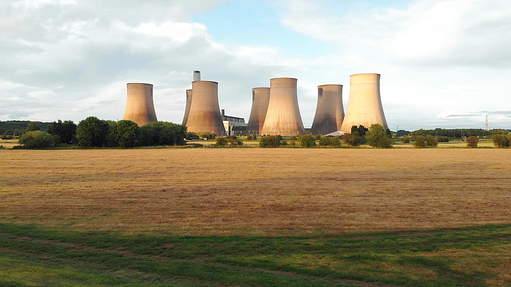 Drone view of Ratcliffe on Soar, a massive coal powered power station in Nottinghamshire, England, United Kingdom, Europe