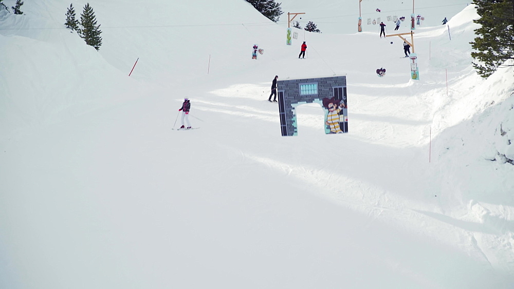 Aerial view of a kids slope at La Plagne ski resort, Tarentaise, Savoy, French Alps, France, Europe