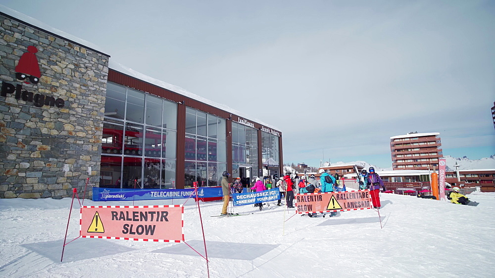 Entrance to the ski lift at La Plagne ski resort, Tarentaise, Savoy, French Alps, France, Europe