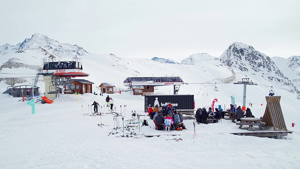 Tourists relaxing at the La Plagne ski resort, Tarentaise, Savoy, French Alps, France, Europe