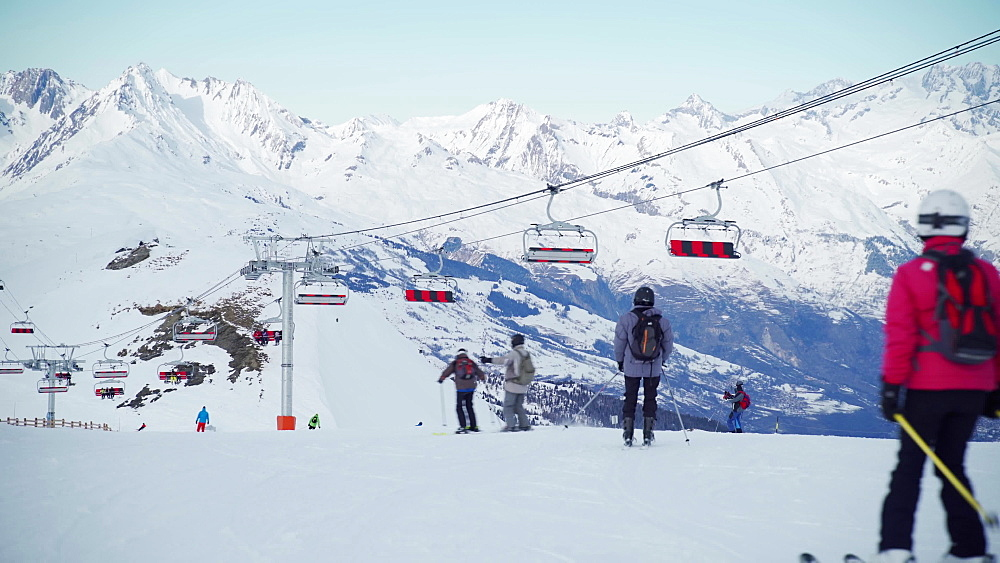 Ski lifts at La Plagne ski resort, Tarentaise, Savoy, French Alps, France, Europe