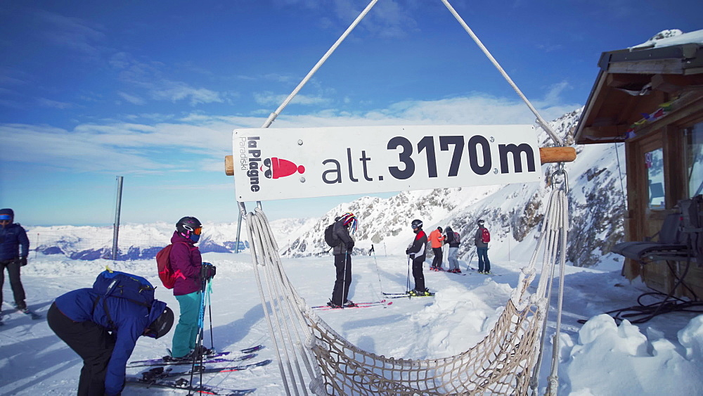 The 3170m sign at the top of La Plagne ski resort, Tarentaise, Savoy, French Alps, France, Europe