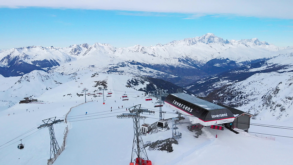 Aerial drone shot, La Plagne ski resort, Tarentaise, Savoy, French Alps, France, Europe