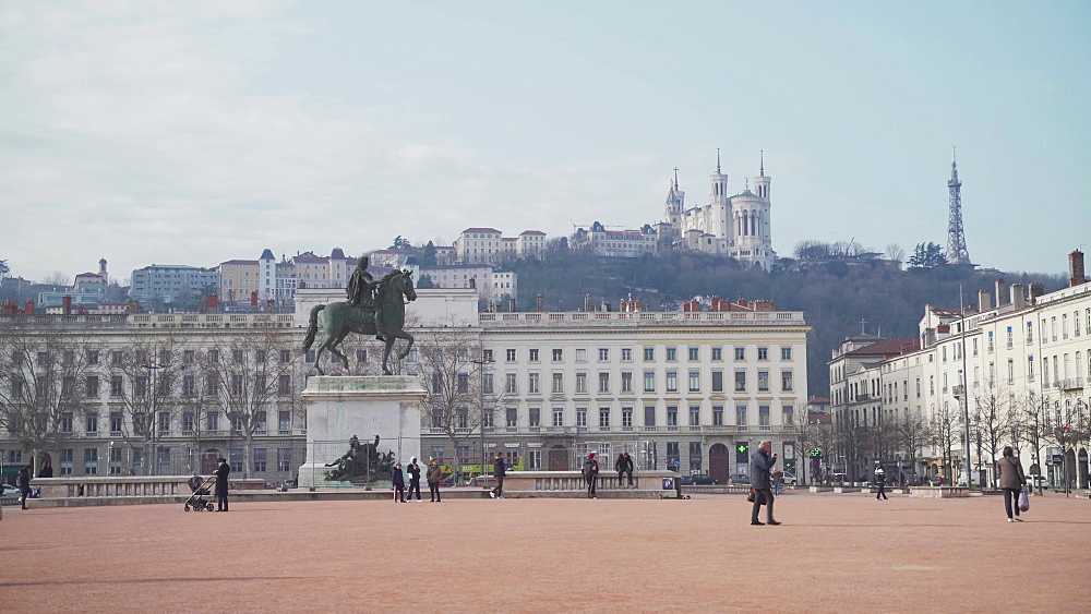 Place Bellecour square in the city centre of Lyon, Rhone-Alpes, France, Europe