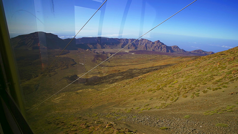 View from cable car going down from the top of the El Teide volcano (Mount Teide), Teide National Park, UNESCO World Heritage Site, Tenerife, Canary Islands, Spain, Atlantic, Europe