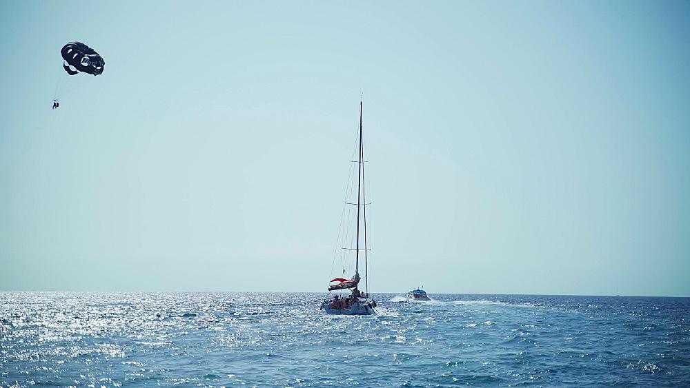 Tourists enjoying a paradise luxury Yacht trip around Tenerife, Canary Islands, Spain, Atlantic, Europe
