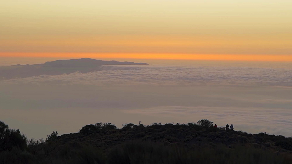 Sunset above the clouds from Teide National Park, Tenerife, Canary Islands, Spain, Atlantic, Europe