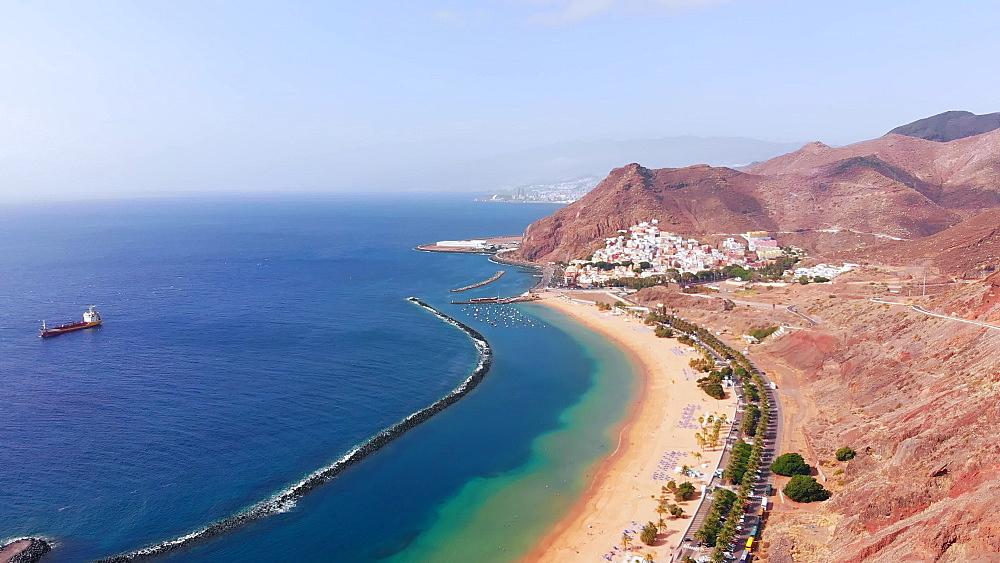 Drone aerial view of Playa de las Teresitas, San Andres, Tenerife, Canary Islands, Spain, Atlantic, Europe