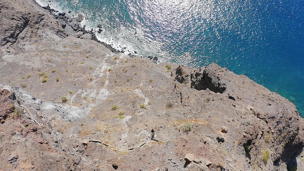 Drone aerial view video of extreme hiking in Gorge Masca Mountains in Tenerife, Canary Islands, Spain, Atlantic, Europe