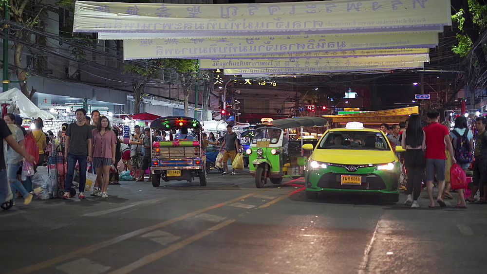 Night market full with people at Chinatown in Bangkok, Thailand, Southeast Asia