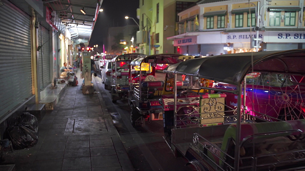 TUK TUK taxis parked near Khaosan Road, Bangkok at night, Thailand, Southeast Asia, Asia
