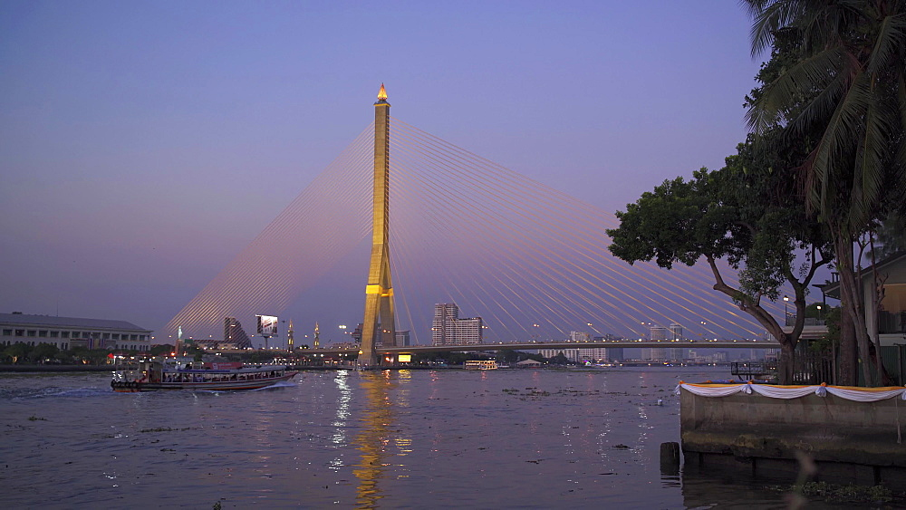 Rama VIII Bridge from Santi Chai Prakan Public Park at dusk, Bangkok, Thailand, Southeast Asia, Asia