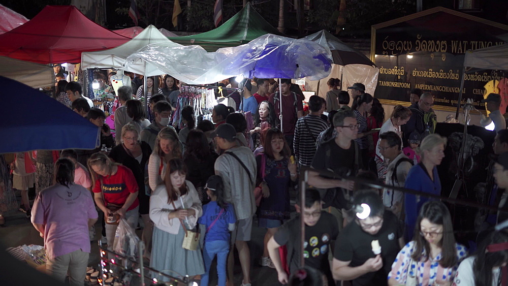 Very busy night market in Chiang Mai, Thailand, Southeast Asia, Asia