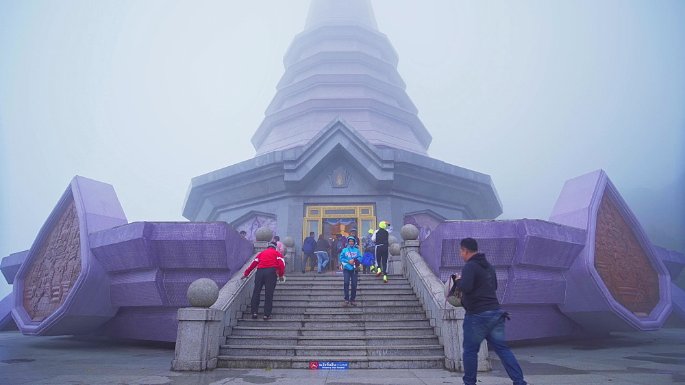 Many tourists at King and Queen Pagodas, Doi Inthanon, Thailand, Southeast Asia, Asia