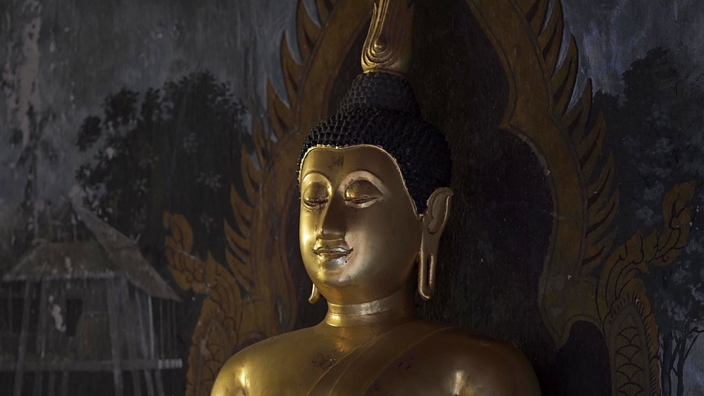 Close up of gold Buddha at Wat Phra That Doi Suthep temple, Chiang Mai, Thailand, Southeast Asia, Asia
