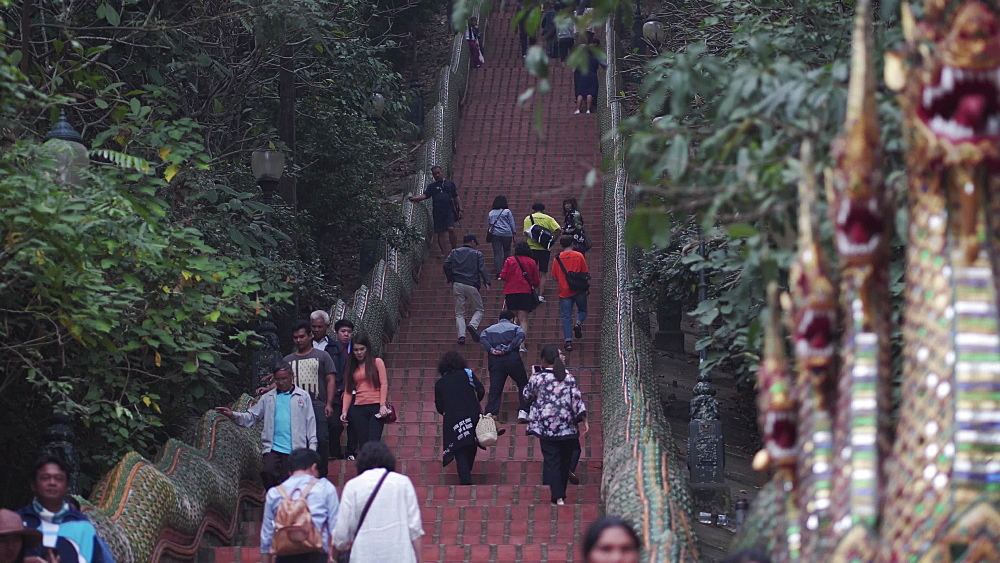 Tourists walking the stairs to Wat Phra That Doi Suthep temple, Chiang Mai, Thailand, Southeast Asia, Asia