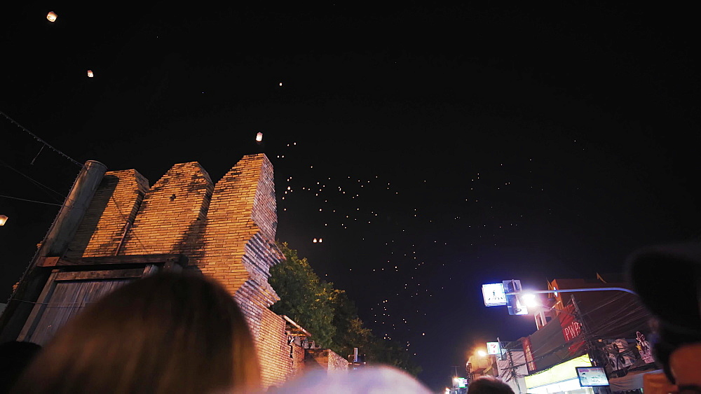Video of Thai locals releasing lanterns and celabrating New Year's Eve 2019 - 2020, Chiang Mai, Thailand, Southeast Asia, Asia