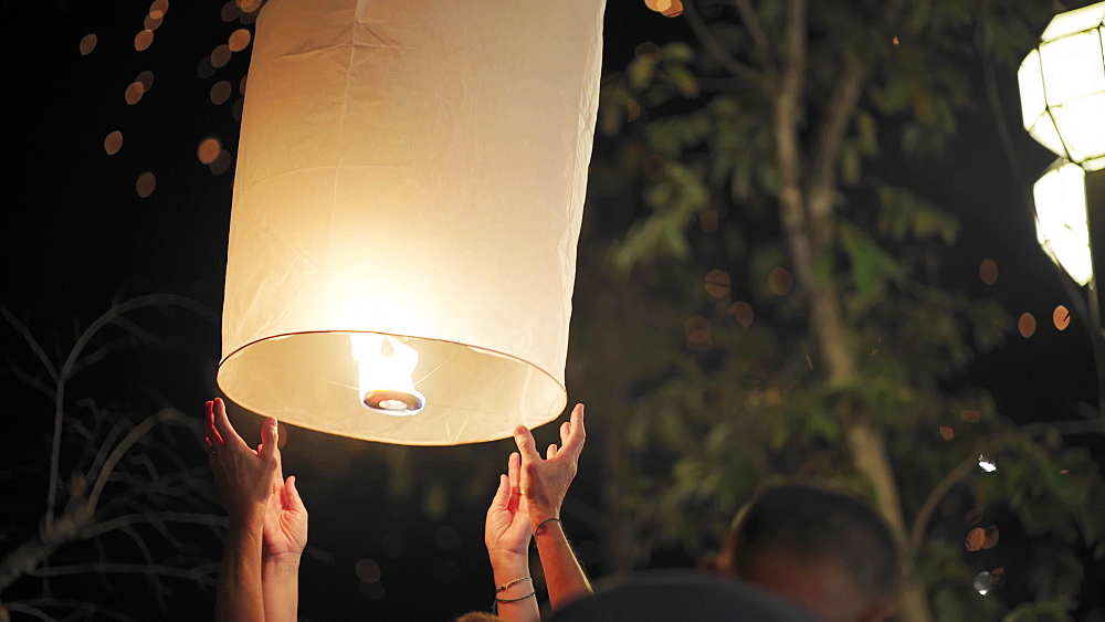 Thai locals releasing lanterns and celebrating New Year's Eve 2019 to 2020 Chiang Mai, Thailand, Southeast Asia, Asia