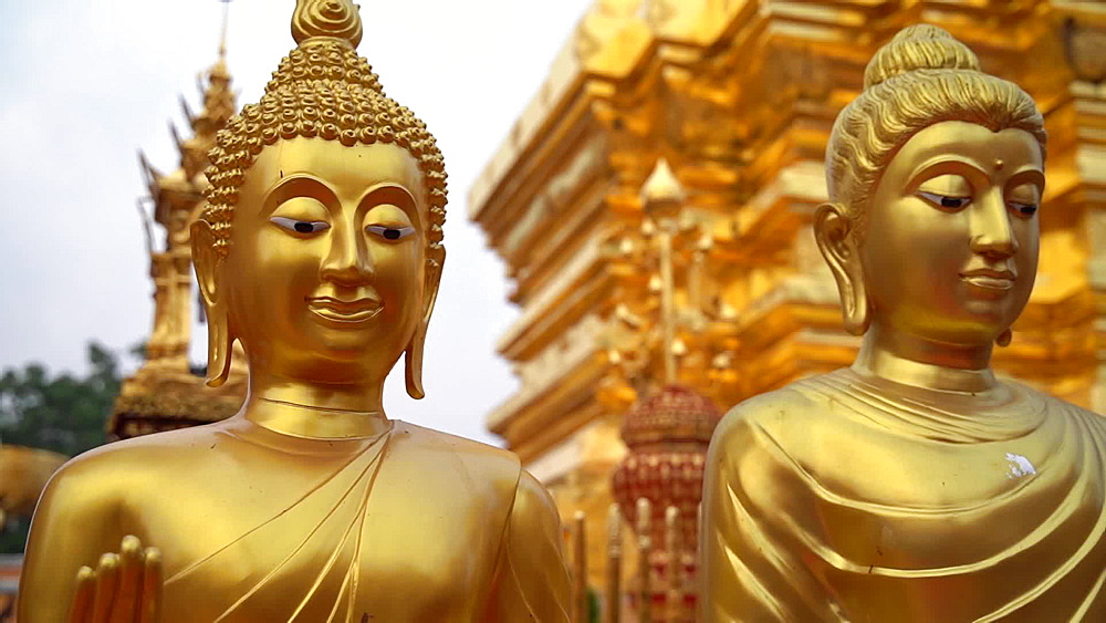Video of golden Wat Phra That Doi Suthep temple, Chiang Mai, Thailand, Southeast Asia, Asia - 1276-2545