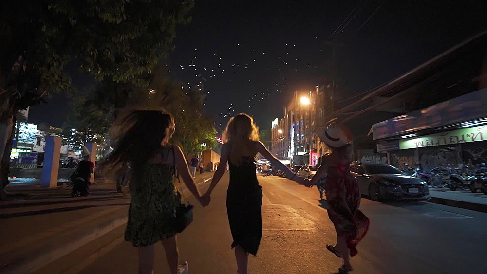 Video of a tourists dancing in the middle of a street and celabrating Thai New Year's Eve 2019 - 2020, Chiang Mai, Thailand, Southeast Asia, Asia - 1276-2565
