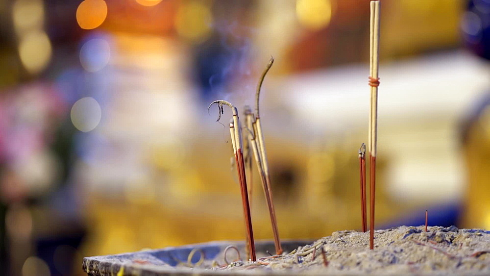 Close up of lighting candles at Wat Phra That Doi Suthep temple, Chiang Mai, Thailand, Southeast Asia, Asia - 1276-2574