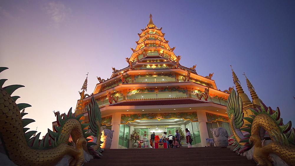 Video of a spectacular Wat Huay Pla Kang temple (Big Buddha) at dusk, Chiang Rai, Thailand, Southeast Asia, Asia