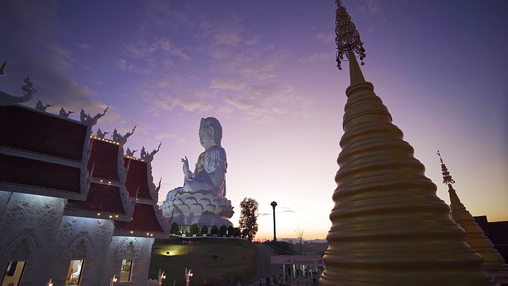 Video of a spectacular Wat Huay Pla Kang temple (Big Buddha) at dusk, Chiang Rai, Thailand, Southeast Asia, Asia