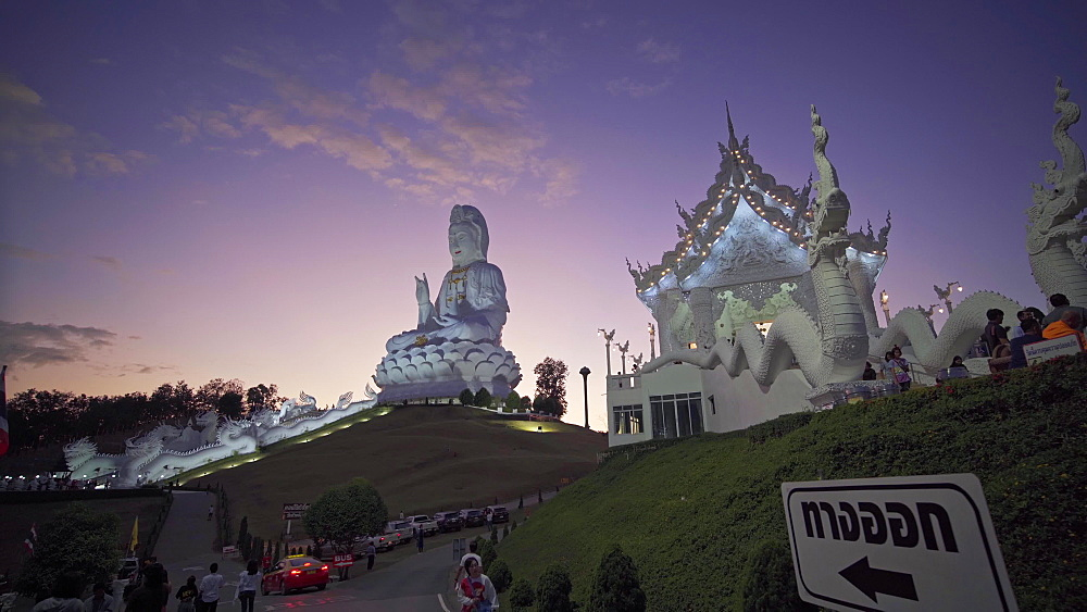 Video of a spectacular Wat Huay Pla Kang temple (Big Buddha) at dusk, Chiang Rai, Thailand, Southeast Asia, Asia - 1276-2593
