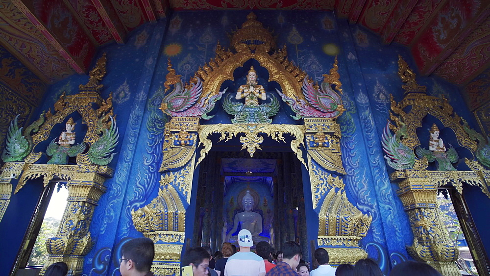 Video of an entrance of Wat Rong Suea Ten (Blue Temple) in Chiang Rai, Thailand, Southeast Asia, Asia