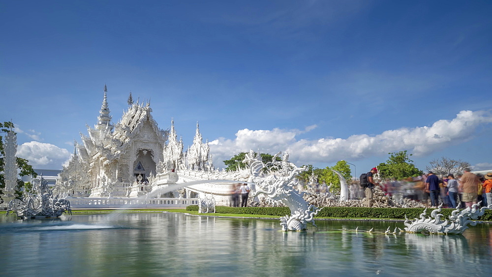 Timelapse video of an amazing Wat Rong Khun (White Temple), Chiang Rai, Northern Thailand, Thailand, Southeast Asia, Asia