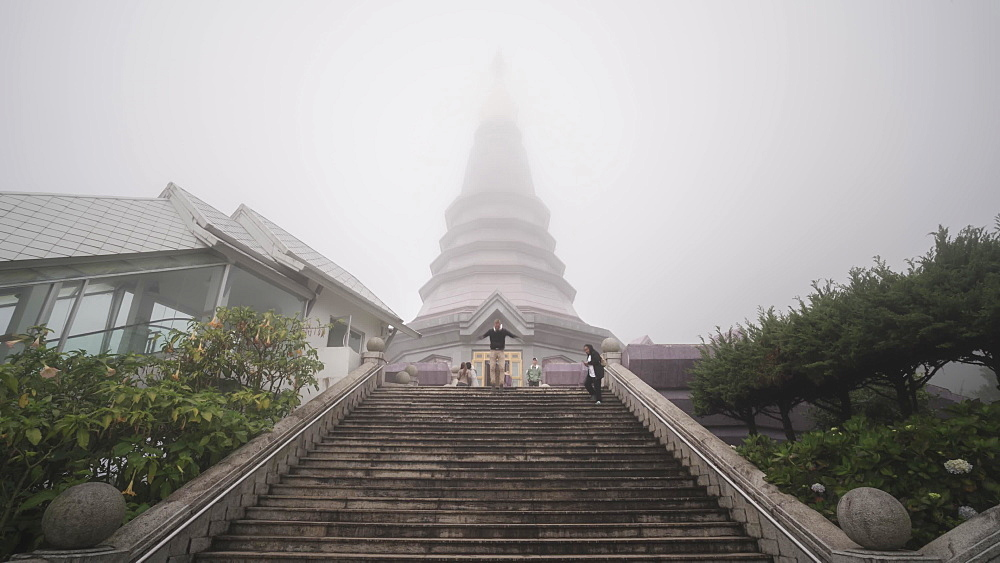Timelapse video of Many tourists at King and Queen Pagodas, Doi Inthanon, Thailand, Southeast Asia, Asia - 1276-2703