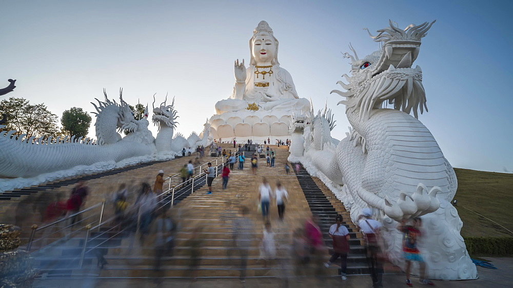 Timelaspse video of a spectacular Wat Huay Pla Kang temple (Big Buddha) at dusk, Chiang Rai, Thailand, Southeast Asia, Asia