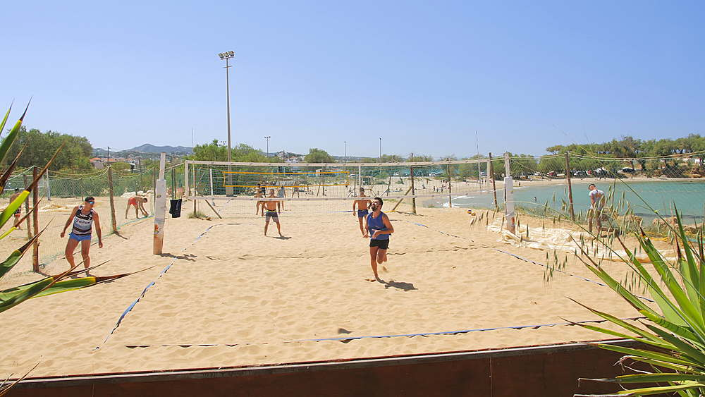 People playing volleyball at Beach Canteen Iguana, Crete, Greek Islands, Greece, Europe