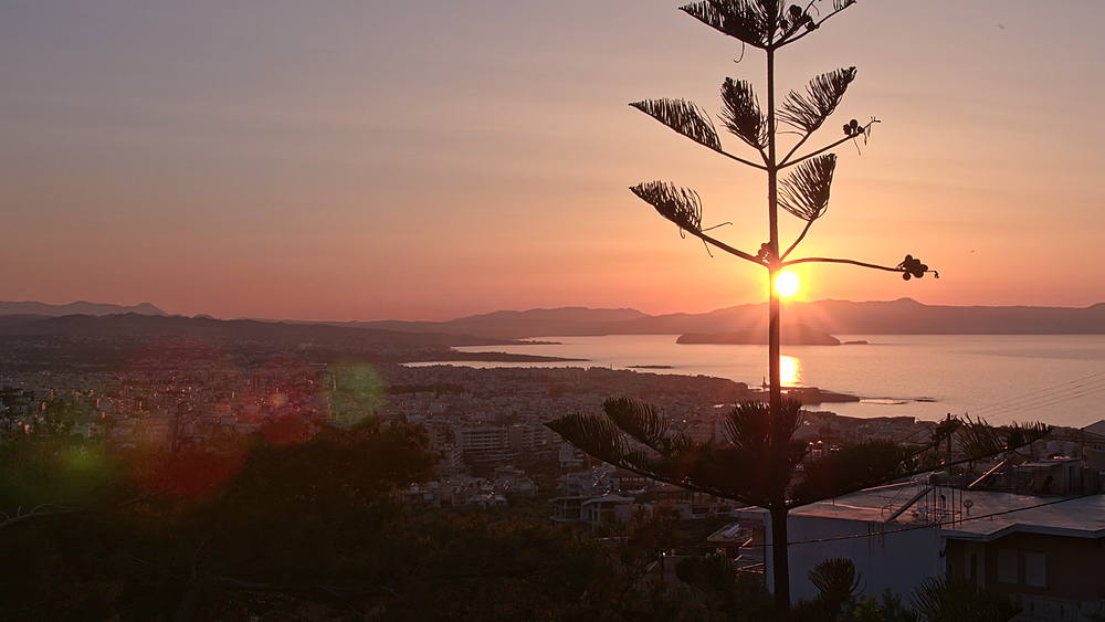 Sunset over Chania, Crete, Greek Islands, Greece, Europea
