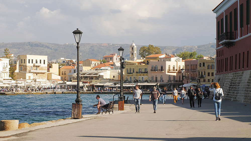 The Venetian era harbour at the Mediterranean port of Chania, Crete, Greek Islands, Greece, Europe