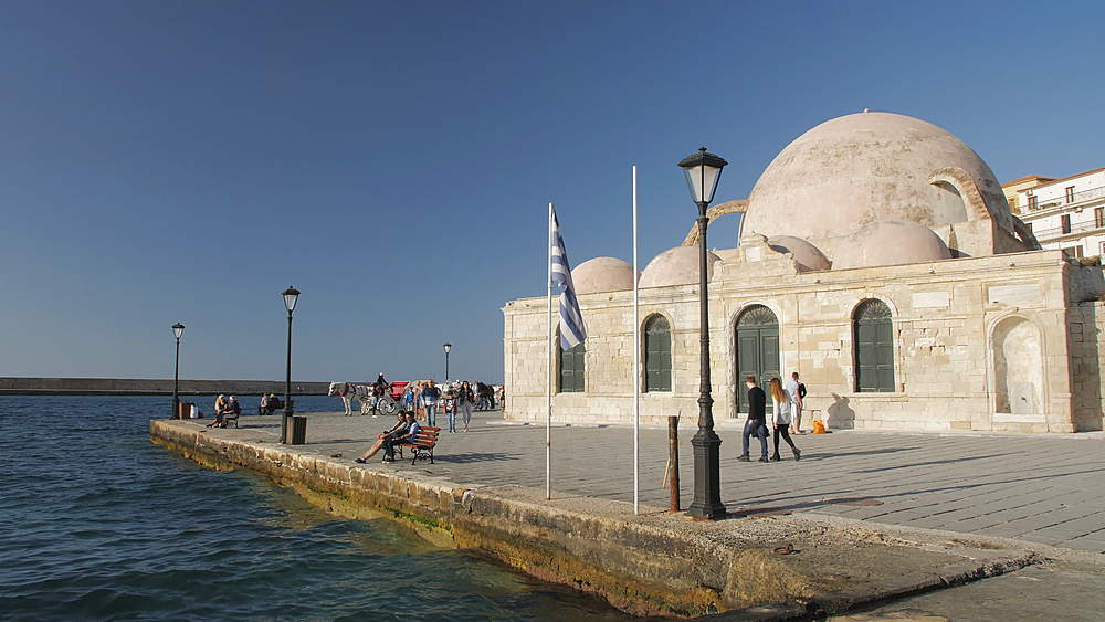Hassan Pasha Mosque and Venetian Harbour, Chania, Crete, Greek Islands, Greece, Europe