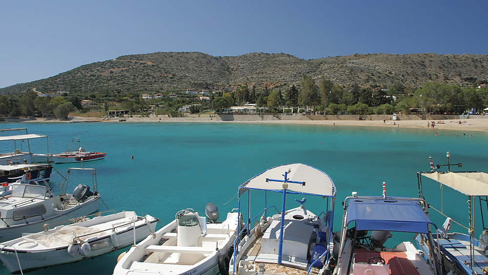Fishing boats at Marathi Beach, Crete, Greek Islands, Greece, Europe