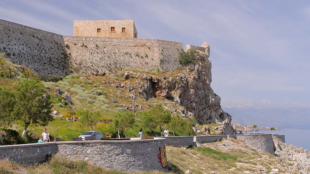The walls and a guard turret in the medieval Fortezza castle, in Rethymnon, Crete, Greek Islands, Greece, Europe