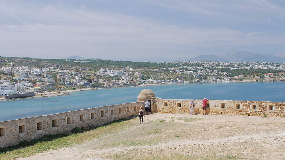 Fortezza castle wall and Rethymnon old town, Crete, Greek Islands, Greece, Europe