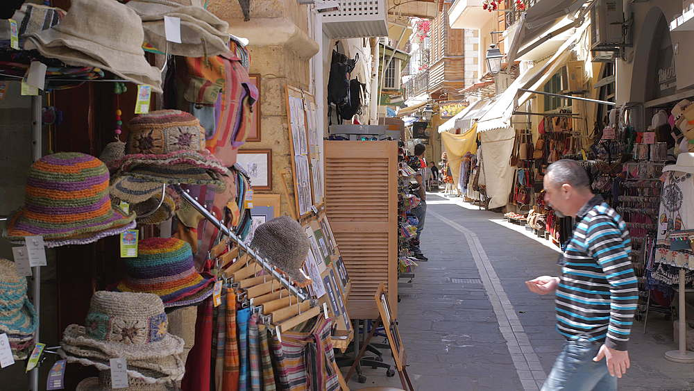 Souvenir shops in Rethymnon, Crete, Greek Islands, Greece, Europe