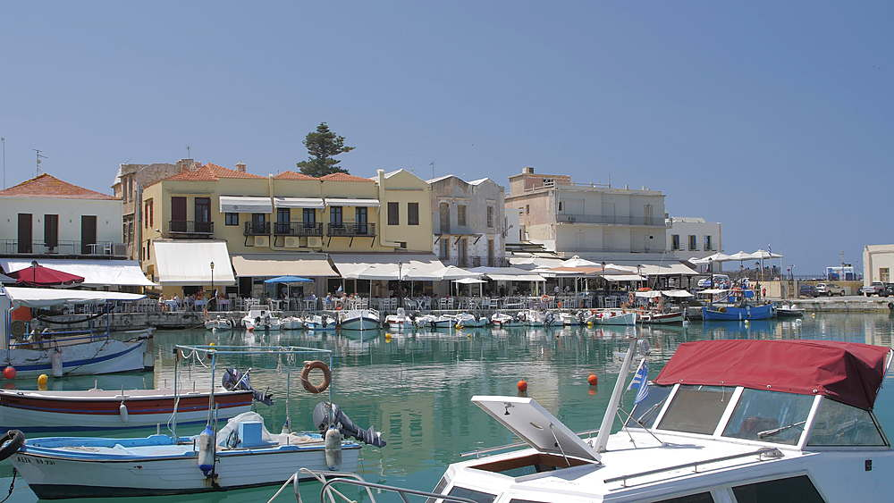 Old Venetian harbour, taverns on seaside, Rethymno, Crete, Greek Islands, Greece, Europe